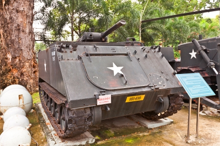 remnants: USA M132 A1 armed flamethrower on the yard of War Remnants Museum  Ho Chi Minh city, Vietnam  This model of armed vehicle was used by USA in Vietnam War