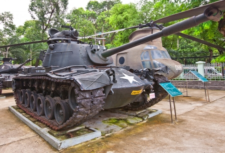 remnants: U S  main battle tank M48 Patton on the yard of War Remnants Museum  Ho Chi Minh city, Vietnam  This model of tank was used by USA in Vietnam War Editorial