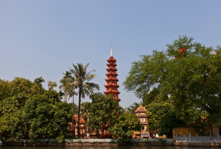 Tran Quoc Pagoda  Chua Tr n Qu c, founded in VI c , current view since 1639 , Kim Ngu  Golden Fish  island of Ho Tay  West Lake   The oldest Buddhist temple in Hanoi  National historic monument of Vietnam