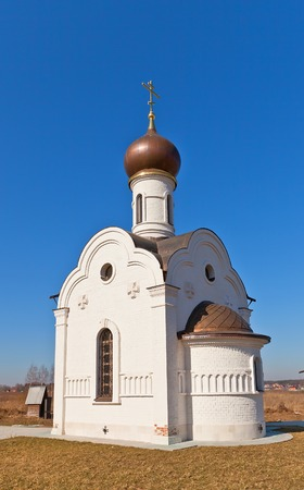 Chapel of Saint Prince Vladimir  circa 2012  on local cemetery  Zagornovo village, Moscow region, Russia photo