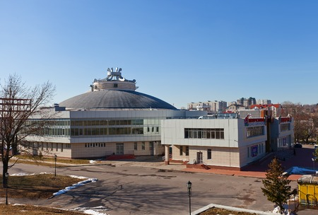 completely: Main building of State Circus in Kursk, Russia  Kursk Circus was founded in 1971 but in 1996 completely burned down, reconstructed in 2011
