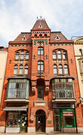 Neogothic house  circa 1899  on Szeroka street of Torun town, Poland  Torun rabbi Zvi Hirsch Kalischer lived here