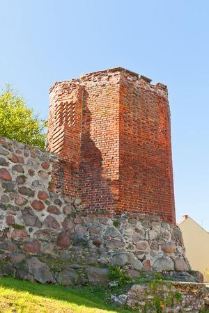 teutonic: Torre angolare del castello di Sztum circa 1335, il Ordensburg fortezza medievale della citt� Teutonico Sztum, Voivodato della Pomerania, Polonia