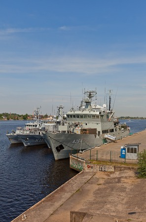 countermeasures: Riga, Latvia - May 25, 2014  Three Swedish Navy ships  HSwMS Trosso A264 ice-strengthened patrol craft tender and two mine countermeasures vessels   in port of Riga, Latvia  Swedish Navy participates in NATO exercise in Baltic Sea