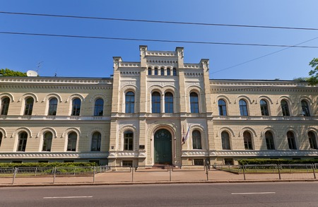 daniels: Riga, Latvia - May 25, 2014  Building of Riga State Gymnasium No 1  circa 1874, architect Johans Daniels Felsko  in Riga, Latvia  The oldest school in the Baltic states  founded in 1211    Editorial