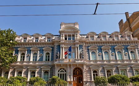 eclecticism: Riga, Latvia - May 25, 2014  Building of France Embassy  circa 1876  on Raina avenue in Riga, Latvia  Architect Janis Fridrihs Baumanis