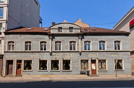 previously: Riga, Latvia - May 25, 2014  Building  circa XIX c   of Citi Laiki restaurant, Brivibas street, Riga, Latvia  Previously house was owned by Louise Agneta Allenstein, since 1909 it was a studio of Janis Rieksts photographer  Citi Laiki restaurant since 200 Editorial