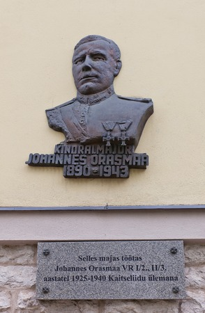 johannes: Tallinn, Estonia - May 27, 2014  Memorial plaque of Johannes Orasmaa, military leader and commander of Estonian Defence League  Kaitseliit   Historic center of Tallinn, Estonia  UNESCO site