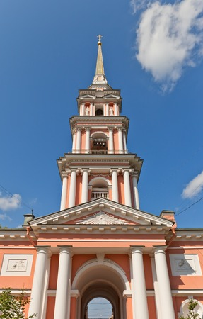 exaltation: Bell tower  circa 1812  of Exaltation of the Holy Cross  Cossack  cathedral in Saint Petersburg, Russia  Architect Postnikov
