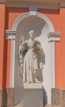 exaltation: Statue of Peter the Apostle of Bell tower  circa 1812  of Exaltation of the Holy Cross  Cossack  cathedral in Saint Petersburg, Russia Editorial