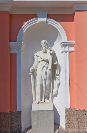 apostle paul: Statue of Paul the Apostle of Bell tower  circa 1812  of Exaltation of the Holy Cross  Cossack  cathedral in Saint Petersburg, Russia Editorial