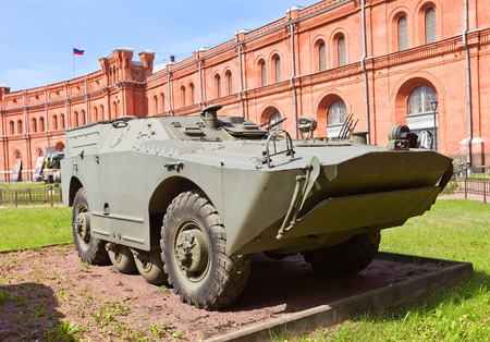 armaments: Russia, Saint Petersburg - July 14, 2014  Soviet armored vehicle 9P110  BRDM-1 platform  of 9K14 Malyutka  NATO reporting name AT-3 Sagger  anti-tank guided missile complex in Artillery Museum of Saint Petersburg  Produced in USSR in 1961-1968