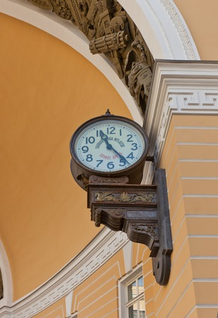ericsson: Russia, Saint Petersburg - July 14, 2014   Street clock of Russian Chamber of Weights and Measures on General Staff Building  in Saint Petersburg, Russia  Made in 1905 be August Ericsson