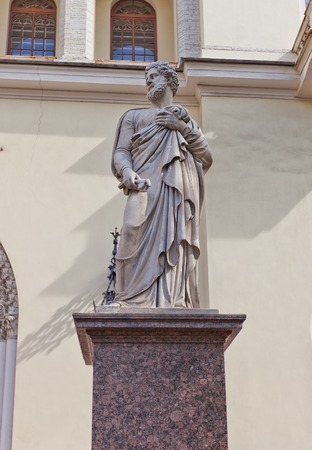 apostle paul: Statue of Peter the Apostle of Lutheran Church of St Peter and St Paul  circa 1838  in Saint Petersburg, Russia  UNESCO site Editorial