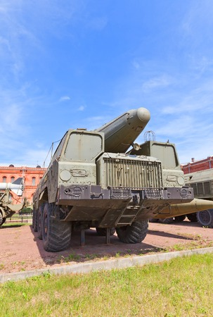 armaments: SAINT PETERSBURG, RUSSIA - JULY 12, 2014  Soviet rocket launcher 2P120 of theatre ballistic missile  complex TR-1 Temp  NATO name SS-12 Scaleboard  in Artillery Museum of Saint Petersburg  Used by Soviet army since 1969