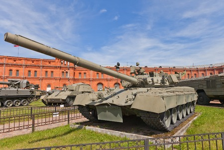 armaments: SAINT PETERSBURG, RUSSIA - JULY 12, 2014  Soviet main battle tank T-80  in Artillery Museum of Saint Petersburg  First production tank with a gas turbine engine  Used by Soviet and Russian army since 1976