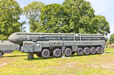 armaments: SAINT PETERSBURG, RUSSIA - JULY 12, 2014  Soviet mobile launcher of intercontinental ballistic missile complex RT-2PM Topol   NATO name SS-25 Sickle  in Artillery Museum of Saint Petersburg