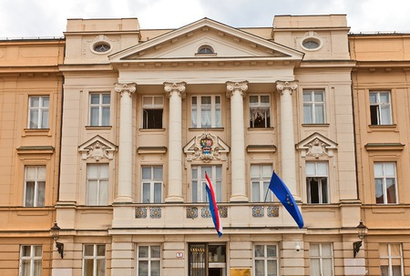 Main building of Croatian Parliament  Hrvatski sabor, circa 1911  in Zagreb, Croatia  Architects Lav Kalda and Karlo Susan