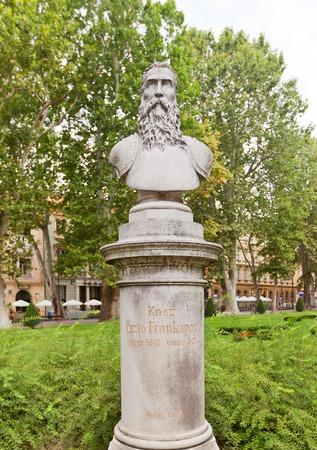 ZAGREB, CROATIA - JULY 21, 2014  Bust of Christoph Frankopan  circa 1884 , a Croatian count from the noble House of Frankopan  Located at Nikola Subic Zrinski Square  Zrinjevac  of historical center of Zagreb, Croatia