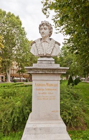 ZAGREB, CROATIA - JULY 21, 2014  Bust  circa 1878  of Andrea Meldolla  Schiavone , an Italian Renaissance painter and etcher of XVI c  Located at Nikola Subic Zrinski Square  Zrinjevac  of historical center of Zagreb, Croatia