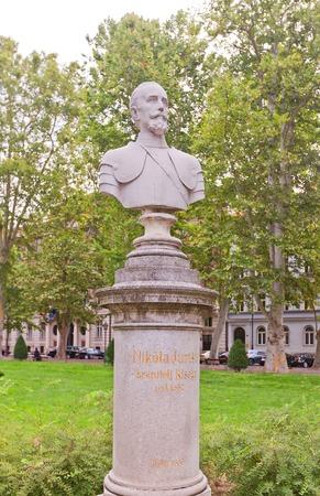 ZAGREB, CROATIA - JULY 21, 2014  Bust  circa 1886  of baron Nikola Jurisic, a Croatian nobleman, soldier, and diplomat  Located at Nikola Subic Zrinski Square  Zrinjevac  of historical center of Zagreb, Croatia Editorial