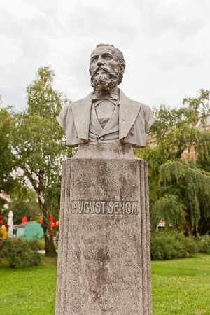 dramatist: ZAGREB, CROATIA - JULY 21, 2014  Bust  circa XIX c   of August  Ivan Nepomuk Eduard  Senoa, a Croatian novelist, critic, editor, poet, and dramatist  Located at Josip Juraj Strossmayer Square of Zagreb, Croatia