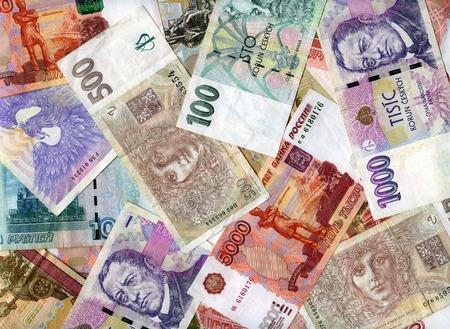 korun: Czech banknotes (koruns) and Russian rubles background Stock Photo
