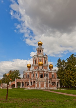 boyar: Church of the Intercession at Fili (circa 1694) in Moscow, Russia. Naryshkin baroque church commissioned by the boyar Lev Naryshkin in his suburban estate Fili Stock Photo