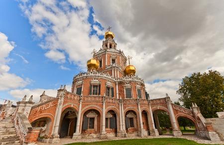 Church of the Intercession at Fili (circa 1694) in Moscow, Russia. Naryshkin baroque church commissioned by the boyar Lev Naryshkin in his suburban estate Fili Stock Photo