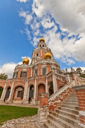 Church of the Intercession at Fili (circa 1694) in Moscow, Russia. Naryshkin baroque church commissioned by the boyar Lev Naryshkin in his suburban estate Fili Editorial