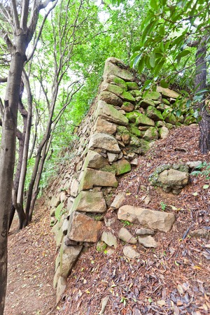 invade: BUSAN, SOUTH KOREA - SEPTEMBER 25, 2014:  Stone walls, the only survived structure of Jaseongdae (Busanjin) castle in Busan (Republic of Korea). Was built by Japanese invaders in 1592 during Imjin War