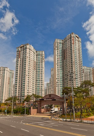 BUSAN, SOUTH KOREA - SEPTEMBER 25, 2014:  Modern apartment complex Lotte Castle Kaiser in Busan, Republic of Korea. Erected by Lotte Engineering and Construction company, circa 2012