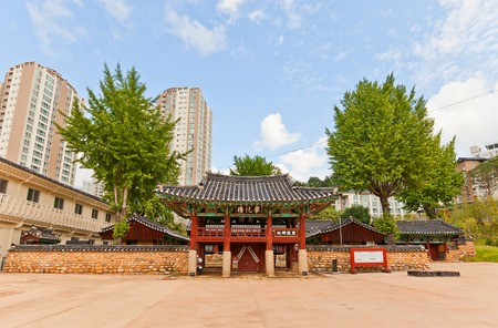 tangible: Two-storied gate (Banhwaru) of Confucian shrine-school Dongnae Hyanggyo in Busan, Korea. Founded in 1392, current view since 1813. Busan Tangible Cultural Property N 6