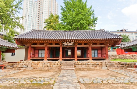 tangible: Lecture hall of Confucian shrine-school Dongnae Hyanggyo in Busan, Korea. Founded in 1392, current view since 1813. Busan Tangible Cultural Property N 6