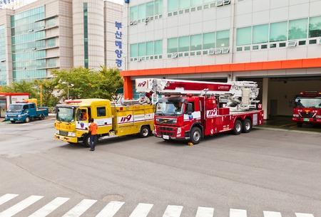 BUSAN, SOUTH KOREA - SEPTEMBER 26, 2014: Fire-fighting vehicles near fire-station in Busan town, Republic of Korea