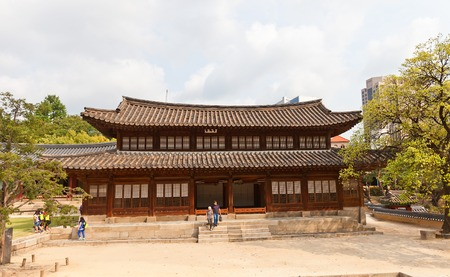 lived here: SEOUL, SOUTH KOREA - SEPTEMBER 27, 2014: Seogeodang Hall (constructed in XV c., rebuilt in 1904) of Deoksugung Palace in Seoul, Korea. King Seonjo (1552-1608) lived and died here