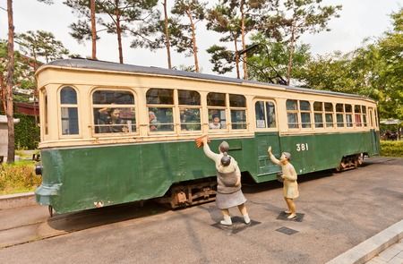SEOUL, SOUTH KOREA - SEPTEMBER 27, 2014:  Electric streetcar No 381 (circa 1930) near Seoul Museum of History. Important cultural heritage of Korea as one of the 2 streetcars remained in Seoul