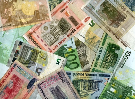 monetary devaluation: European currency (Euro) and Belarusian banknotes (Rubles) background