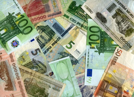 European currency (Euro) and Belarusian banknotes (Rubles) background