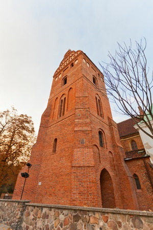 visitation: WARSAW, POLAND - OCTOBER 18, 2014: Belfry of Church of the Visitation of the Most Blessed Virgin Mary in Warsaw, Poland. Erected in 1411, reconstructed in 1952