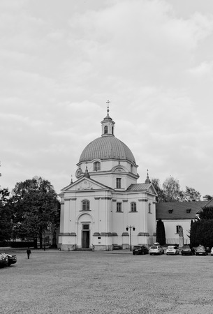 WARSAW, POLAND - OCTOBER 18, 2014:  Saint Kazimierz Church at Rynek Nowego Miasta square in Warsaw, Poland. Erected in 1692, reconstructed in 1947-53