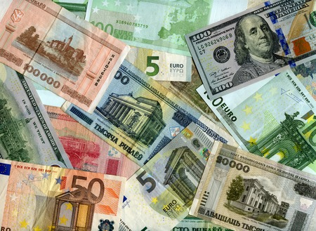 monetary devaluation: Belarusian banknotes (Rubles), US dollars and European currency (Euro) background