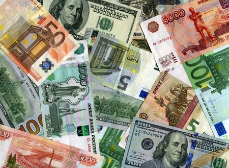 Russian banknotes (Rubles), US dollars and European currency (Euro) background 版權商用圖片