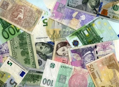 korun: Czech banknotes (koruns), US dollars and European currency (Euro) background