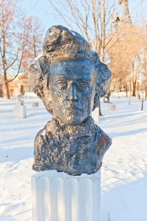 virtuoso: MOSCOW, RUSSIA - JANUARY 06, 2015: Bust of Polish composer and virtuoso pianist Frederic Chopin in Muzeon Art Park in Moscow, Russia. Sculptor Tenet, 1964