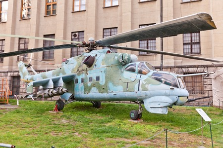 successors: WARSAW, POLAND - OCTOBER 20, 2014:  Soviet attack helicopter Mil Mi-24D (NATO reporting name Hind) in Museum of Polish Army in Warsaw, Poland. Is operated since 1972 by the Soviet Air Force, its successors, and more than 30 other nations