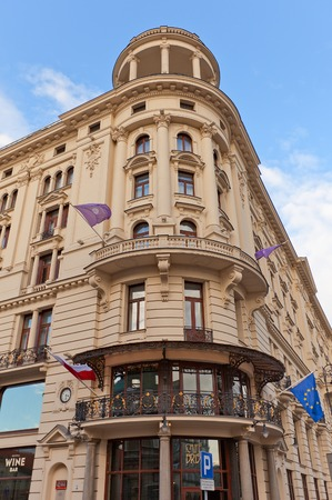 krakowskie przedmiescie: WARSAW, POLAND - OCTOBER 20, 2014:  Hotel Bristol (circa 1901) on the central Krakowskie Przedmiescie street in Warsaw, Poland. Architect Wladyslaw Marconi