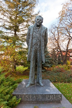 novelist: WARSAW, POLAND - OCTOBER 20, 2014:  Monument to Boleslaw Prus (born Aleksander Glowacki, 1847-1912), a leading figure in the history of Polish literature in Warsaw, Poland. Work of sculptor Anna Kamienska-Lapinska, 1977 Editorial