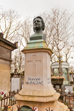 novelist: PARIS, FRANCE - FEBRUARY 21, 2015: Grave of Honore de Balzac on Pere Lachaise Cemetery in Paris. Balzac (1799-1850) was famous French novelist and playwright