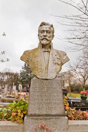 julio: PARIS, FRANCE - FEBRUARY 21, 2015: Grave of Doctor Julio Carrie on Pere Lachaise Cemetery in Paris. Julio Carrie (1857-1910) was Argentine Lawyer and Consul Editorial